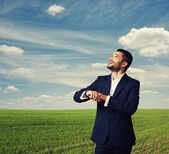 Laughing man looking up — Stock Photo