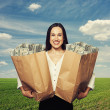 Smiley successful woman holding two paper bags — Stock Photo #48859851