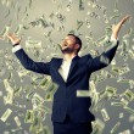 Man standing under dollar's rain — Stock Photo #49286739