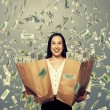 Excited businesswoman with money — Stock Photo #49286769