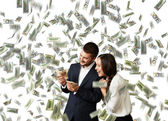 Man and woman counting money — Stock Photo