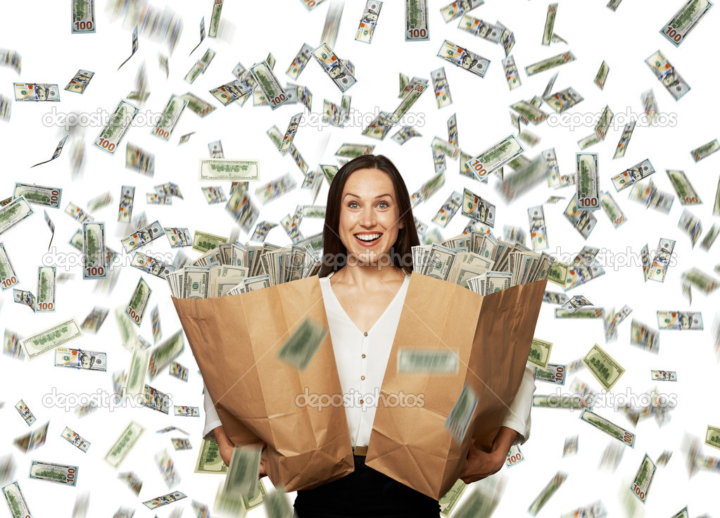 Eccitato donna felice sotto la pioggia di dollari foto for Piani di fattoria sotto 2000 piedi quadrati