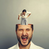 Shouting man and angry businesswoman — Stock Photo