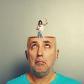 Surprised senior man with open head — Stock Photo