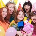 Joyful women with gifts — Stock Photo #5158232