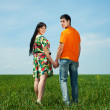 Happy couple in meadow over blue sky — Stock Photo #5159822