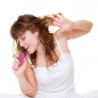 Happy woman listening music and singing — Stock Photo #5181476