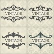 Set of vintage template with floral frame — Stock Vector