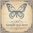 Stock Vector: Butterfly on paper background vintage style