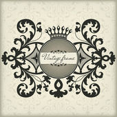 Vintage frame with crown — Vetorial Stock