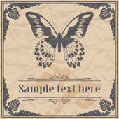 Butterfly on paper background vintage style — Stock Vector