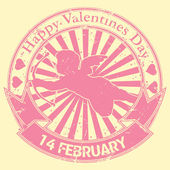 Happy valentine stamp — Stock vektor