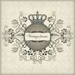 Vintage frame with crown - Stock Vector