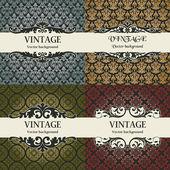 Set of vintage vector background — Stock Vector