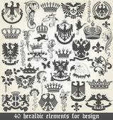 Set of heraldic elements for design — Stock Vector