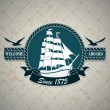 Vintage label with a nautical theme - Stock Vector