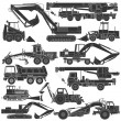 Stock Vector: Set of silhouettes of construction machinery