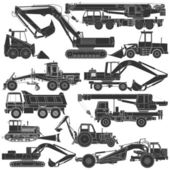 Set of silhouettes of construction machinery — Stock Vector