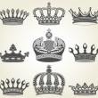 Set crowns in vintage style — Stock Vector