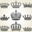 Stock Vector: Set crowns in vintage style