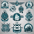 Set of vintage label with a nautical theme — Stock Vector #30016649