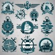 Stock Vector: Set of vintage label with nautical theme