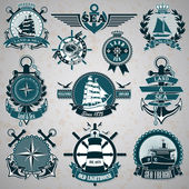 Set of vintage label with a nautical theme — Stock Vector