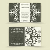 Set of floral invitation cards. — ストックベクタ