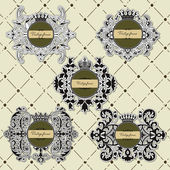 Set of vintage frame with crown — Stock Vector