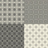 Set of abstract geometric black and white seamless pattern — Vettoriale Stock