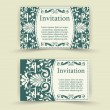 Stock Vector: Set of floral invitation cards.
