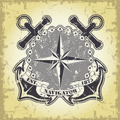 Stamp with a nautical theme — Stockvector