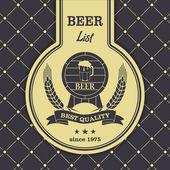 Sample menu with a beer mug — Stock Vector
