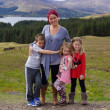 Mother and Children in Scottish Highlands - Beautiful Scenery — Stock Photo