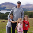 Father and Children in Scottish Highlands - Beautiful Scenery — Stock Photo