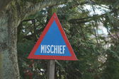 Road Warning Sign - Mischief — Stock Photo