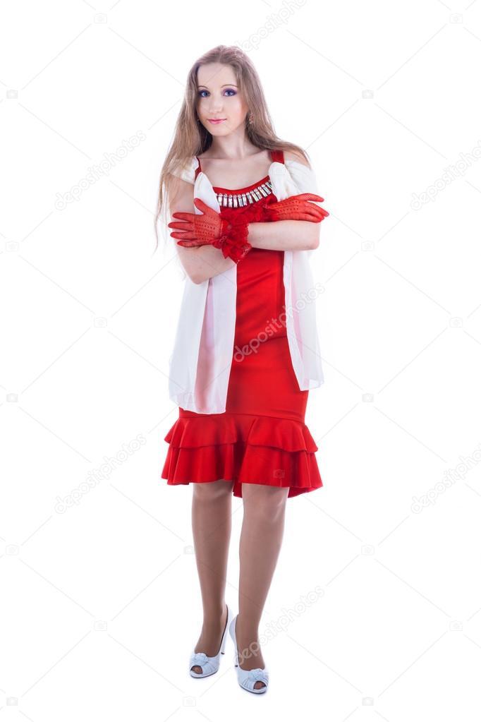 穿红裙子的时尚女孩