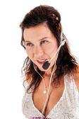 Latin-American woman with a headset — Stock Photo