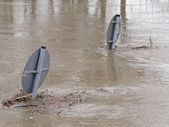 Flooded Street And Signs — Stock Photo