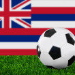 Stock Photo: Flag and soccer ball on the green grass.