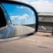 The view from the car in the side mirror — Stock Photo