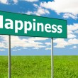 Happiness Green Road Sign — Stock Photo