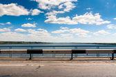 Road Bridge, view of the river. — Stock Photo