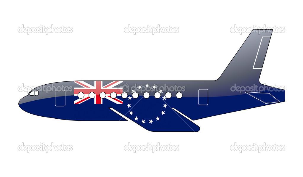库克群岛国旗上的一架飞机的轮廓画.有光泽的插图— photo by tpabma2