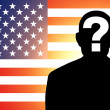 American flag and the silhouette — Stock Photo #13651952