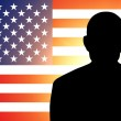 American flag and the silhouette — Stock Photo