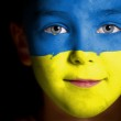Portrait of a child with a painted Ukrainian flag — Stock Photo #13813461