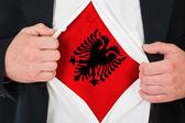 A bandeira albanesa — Fotografia Stock