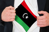 The Libyan flag — Stock Photo