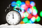 Christmas clock blurred festive background — Zdjęcie stockowe